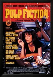 Pulp Fiction -elokuvajuliste mustilla kehyksillä